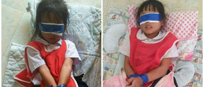 Professores amarram e tapam olhos de meninas. Tudo devido a papel rasgado